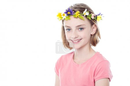 Photo for Charming girl posing with head wreath on white background - Royalty Free Image
