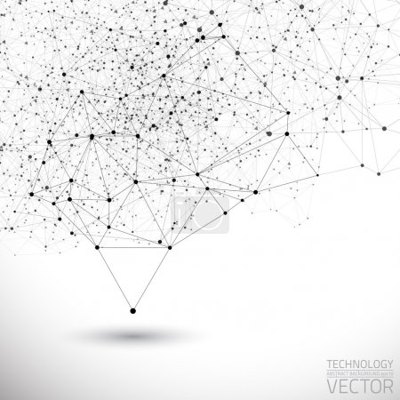 Illustration for Abstract white bright technology vector background. Connection structure. Vector science background. Polygonal vector background - Royalty Free Image