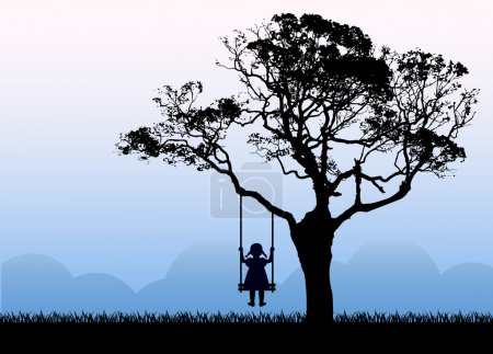toward dreams and Child silhouette sitting on a swing