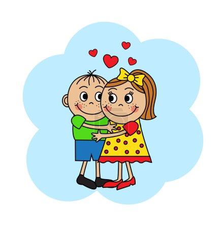 Cartoon couple hugging children