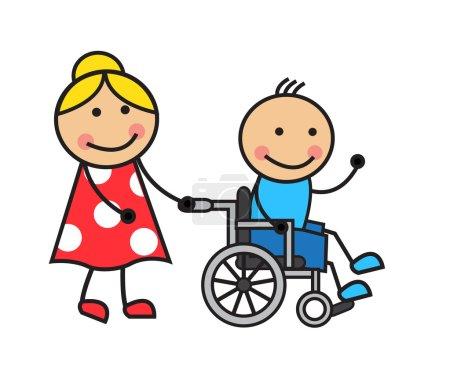 Illustration pour Dessin animé homme en fauteuil roulant et une femme roues en fauteuil roulant - image libre de droit