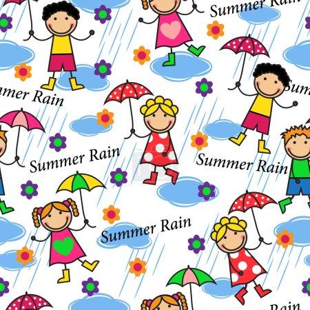 Photo pour Dessin animé motif sans couture avec les gens sous la pluie - image libre de droit