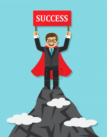 Illustration for Happy businessman in a suit and cape hero stands on top of a mountain and holding red sign with the word success. - Royalty Free Image