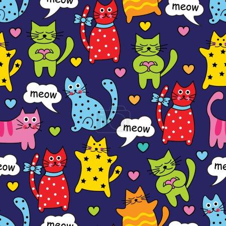 Photo pour Dessin animé sans couture chats multicolores et les cœurs sur un fond bleu - image libre de droit
