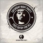 Saturday night party stamp on textured background which is made from several transparent layers for a worn rubbed effect therefore saved in eps 10