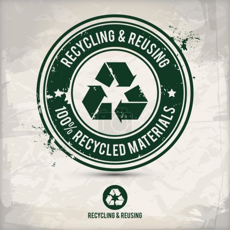 Illustration for Alternative recycling stamp on textured background, which is made from several transparent layers for a worn, rubbed effect, therefore saved in eps 10 - Royalty Free Image