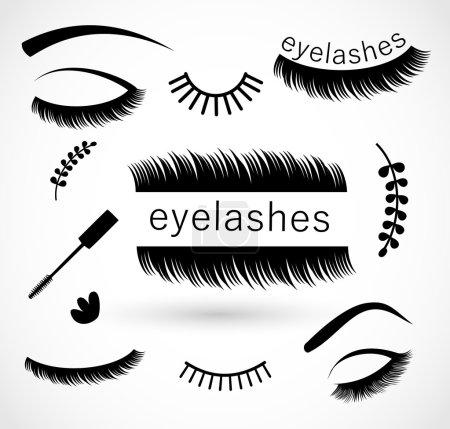 Eyelashes icon set vector