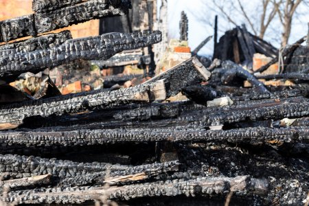 Ruins and remains of a burned down house