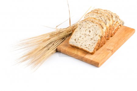 fresh bread and wheat on white