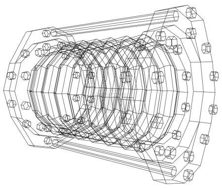 Wire-frame  industrial equipment oil flowmeter. EPS 10 vector format. Tracing illustration of 3d