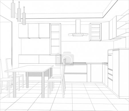 Illustration for Abstract sketch design interior kitchen. Illustration created of 3d - Royalty Free Image