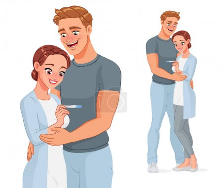 Illustration for Happy young couple expecting a baby. Smiling pregnant woman and her husband with positive pregnancy test result. Cartoon vector illustration. - Royalty Free Image