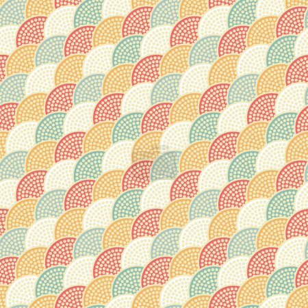Seamless Japanese Vintage style Half-circle pattern. Dotted pattern. Fish-scale mosaic background. Oriental background. Korean ornament. Abstract Colorful Background. Dots. Vector Regular Texture.