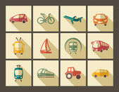 Icons of different modes of transport in retro style