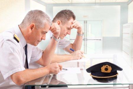 Airline pilots during exam