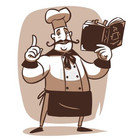 Illustration pour Heureux dessinateur cuisinier avec livre de cuisine - image libre de droit
