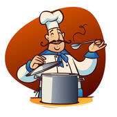 Happy cartoon cook with spoon and saucepan