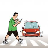 Man with mobile phone on the Crosswalk