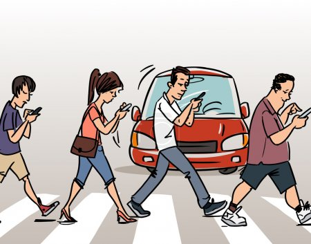 Illustration for People with mobile phones on the Crosswalk, vector illustration - Royalty Free Image