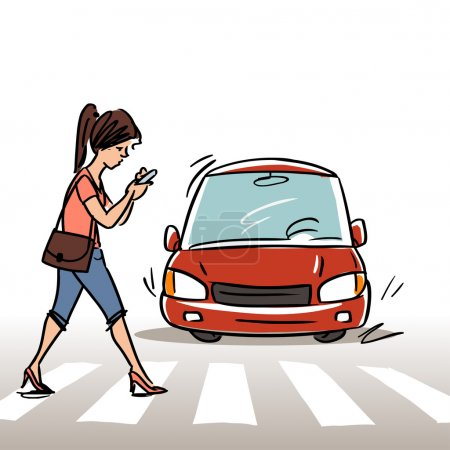 Illustration for Woman with mobile phone on the Crosswalk, vector illustration - Royalty Free Image
