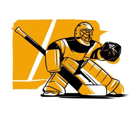 Hockey goalkeeper in helmet and gate