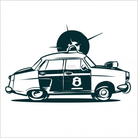 Old police car illustration