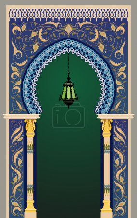 Islamic decorative arc with lantern - eps10