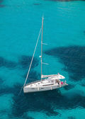 Yacht moored in the sea