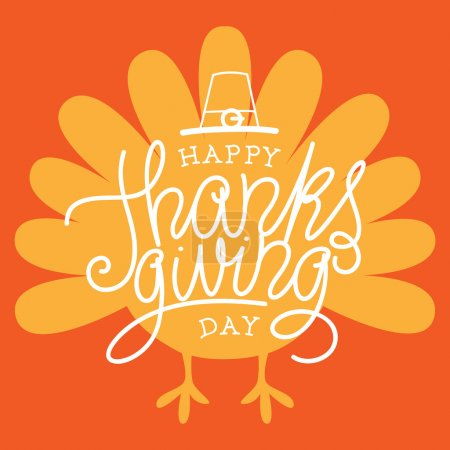 Illustration for Happy Thanksgiving Day. Vector Illustration with Hand Lettered Text and a Turkey silhouette with orange background. - Royalty Free Image