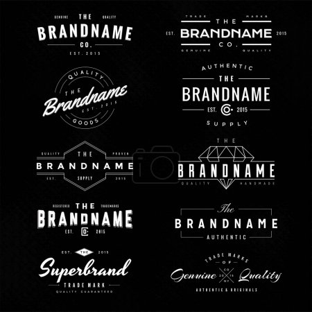 Illustration for Simple and clean vintage logo & insignia white in black illustration best for label design, clothing design and identity design and sign. - Royalty Free Image