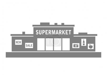 Grey supermarket icon on white background