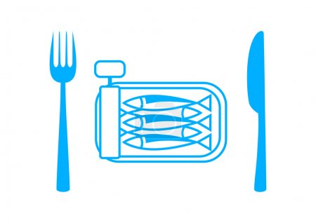 Blue sardines with cutlery on white background