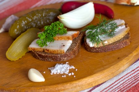 Sandwiches with salted and spiced lard