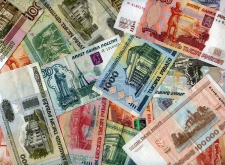 Photo for Russian and Belarusian banknotes (rubles) background - Royalty Free Image