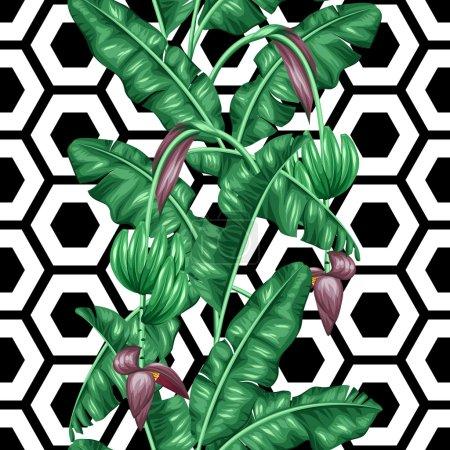 Illustration pour Modèle sans couture avec des feuilles de banane. Image décorative de feuillage tropical, fleurs et fruits. Fond fait sans masque de coupe. Facile à utiliser pour toile de fond, textile, papier d'emballage . - image libre de droit