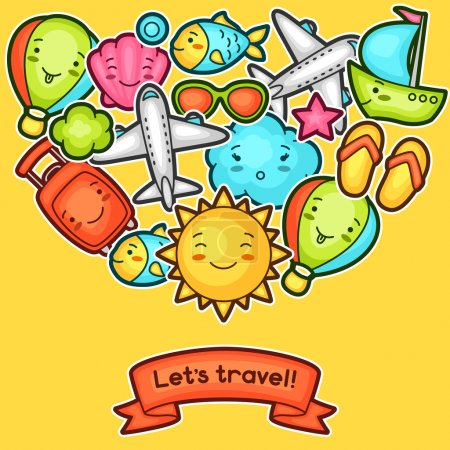 Cute travel background with kawaii doodles. Summer collection of cheerful cartoon characters sun, airplane, ship, balloon, suitcase and decorative objects