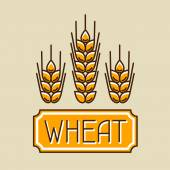 Emblem with wheat Agricultural image natural golden ears of barley or rye Objects for decoration bread packaging beer labels