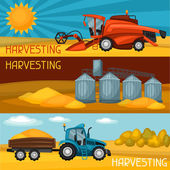Set of harvesting banners Combine harvester tractor and granary Agricultural illustration farm rural landscape