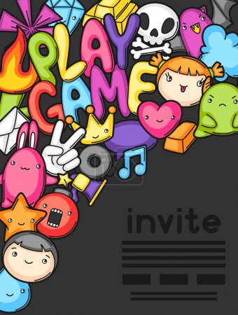 Game kawaii invite. Cute gaming design elements, objects and symbols