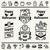 Happy halloween sada odznaky a ikon