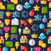 Seamless pattern with game icons in flat design style