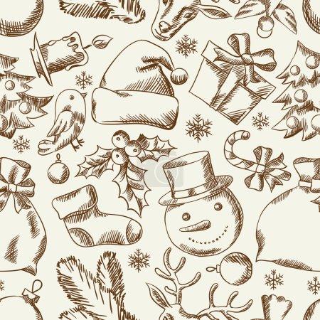 Illustration pour Main de Noël joyeux dessiné sans couture modélisme. - image libre de droit