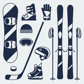 Winter sports equipment icons set in flat design style