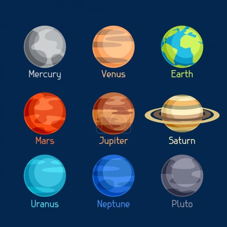 Illustration for Cosmic icon set of planets solar system. - Royalty Free Image