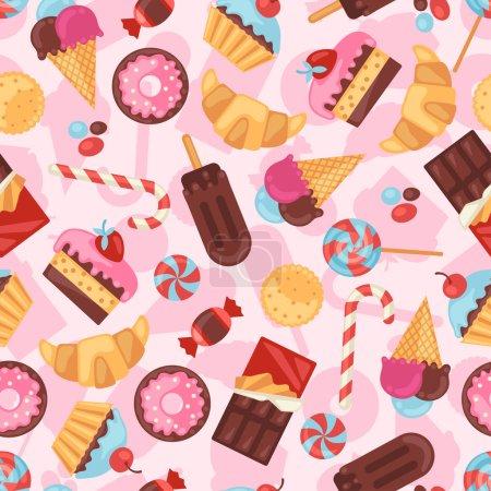 Illustration pour Modèle sans couture coloré divers bonbons, bonbons et gâteaux . - image libre de droit