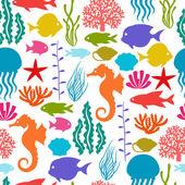 Marine life seamless pattern with sea animals