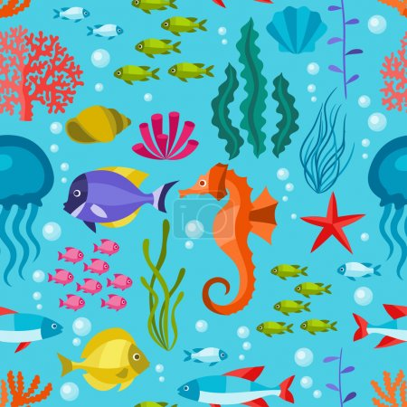 Illustration for Marine life seamless pattern with sea animals. - Royalty Free Image