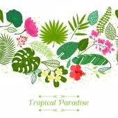 Tropical paradise card with stylized leaves and flowers
