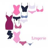 Fashion lingerie background design with female underwear