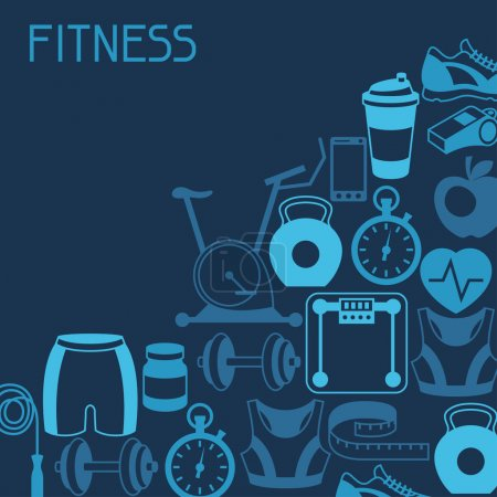 Illustration for Sports background with fitness icons in flat style. - Royalty Free Image